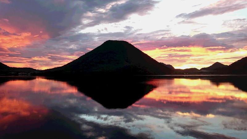 9月8日 榛名湖の朝焼け&逆さ富士